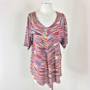 Faded Glory Knit Crochet Tunic Top V-Neck XL 16-18